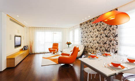 retro style living room with orange furniture